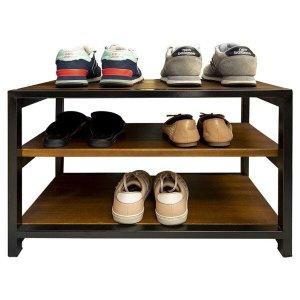 Sapateira Banco para Porta de Casa em Ferro e Madeira para Organizar Sapatos Imbuia