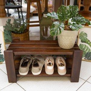 Sapateira para Porta de Casa em Madeira para Organizar Sapatos Cor Imbuia