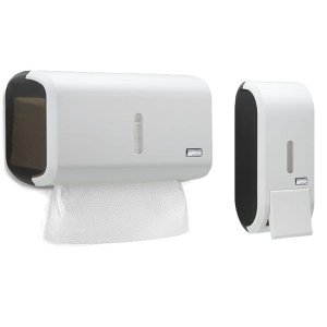 Kit Dispenser Saboneteira + Toalheiro Black White Premisse
