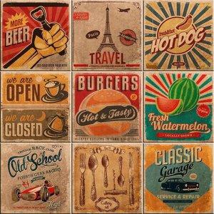 Azulejos Decorativos Vintage Kit Com 9 Peças 15X15Cm