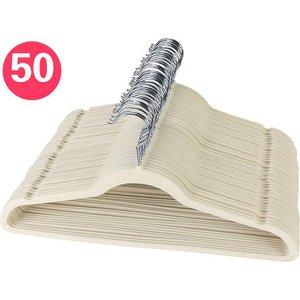 Cabide de Veludo Ultra Fino Antideslizante Bege - Caixa com 50 Cabides