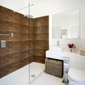 Papel de Parede Lavavel para Banheiro Cozinha Revestimento Fosco Madeira - 0,58 x 1,00m