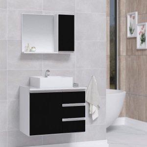 Conjunto Gabinete Banheiro com Espelheira Sem Cuba 60Cm BRANCO / PRETO