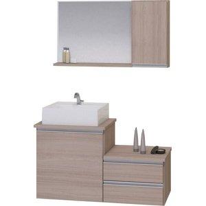 Kit Gabinete Banheiro Completo com Armário Cuba Espelheira Cross 80Cm