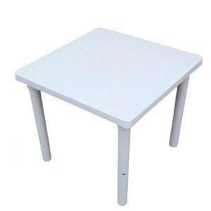 Kit 3 Mesa Plástica Quadrada Desmontável Branca 83 cm