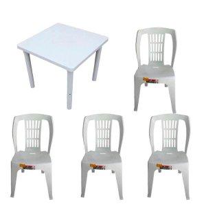 Kit 1 Mesa Desmontável 83cm e 4 Cadeira Bistro s/apoio 182kg