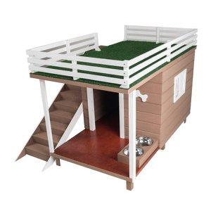 Casinha Casa de Cachorro Madeira com Deck e Varanda Dog House