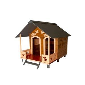 Casinha Casa de Cachorro Madeira Dupla Média Varanda Dog house