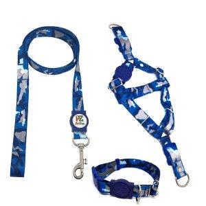 Conjunto coleira, peitoral e guia para cachorro - Tamanho Pequeno - Modelo Camuflado