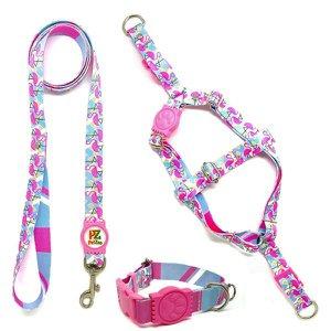 Conjunto coleira,peitoral e guia para cachorro - Tamanho Grande - Modelo Flamingo