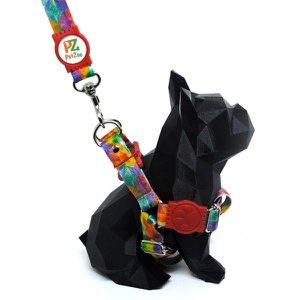 Conjunto peitoral e guia para cachorro - Tamanho Pequeno - Modelo Aquarela