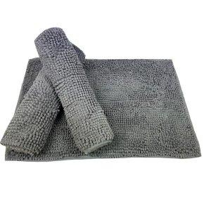 Tapete De Banheiro Antiderrapante Bolinha Microfibra 70x50 cm:Cinza