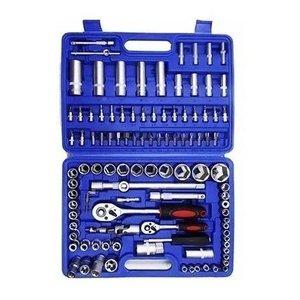 """Jogo de soquetes 108 peças e ponteiras com encaixe de 1/4"""" e de 1/2"""" com catraca tool set"""