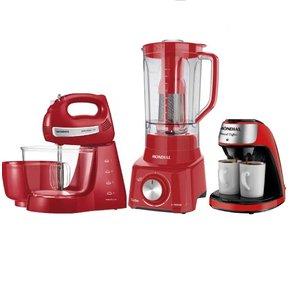 Kit Mondial Vermelho Batedeira Liquidificador Cafeteira 220v