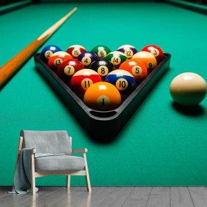 Papel de Parede Salão de Jogos Sinuca Bilhar Sala Adesivo - 165pcm