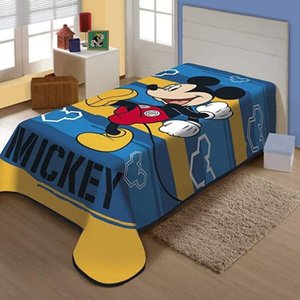Cobertor Juvenil Raschel Plus Mickey Feliz Disney Azul Jolitex