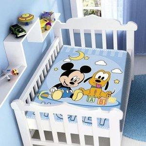Cobertor Infantil Para Bebê Mickey e Pluto Feliz Disney Jolitex