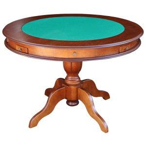 Mesa de Jogos Carteado 4 Lugares J-Bonomo Redonda Tampo Reversível com Gavetas e Porta Copos