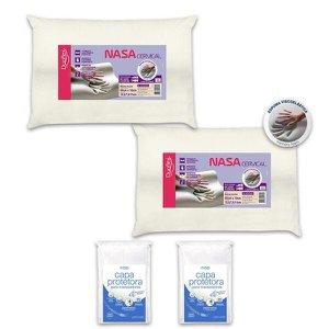 Kit 2 Travesseiros NASA Viscoelástico Cervical Duoflex + 2 Capas Protetoras Repelente a Líquidos