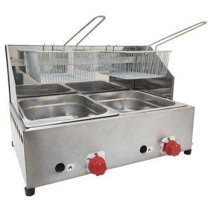Fritadeira Profissional a Gás 2 Cubas 5 Litros FPC-02