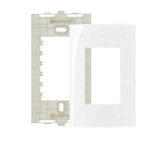 Placa e Suporte 4×2 Pol 3 postos Branco Sleek Margirius