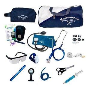 Kit De Enfermagem Completo Premium Com Relógio E Brinde - Azul-marinho