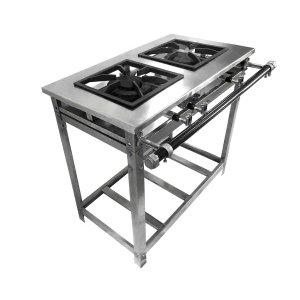 Fogão Industrial Aço Inox Baixa Pressão - Standard (1 Duplo e 1 Simples) Paralelas 30x30 - Brascool