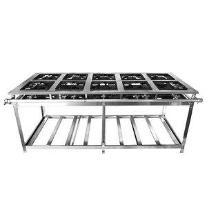Fogão Industrial Aço Inox Baixa Pressão 10 Bocas - Premium (5 Duplas e 5 Simples) 38x38 - Brascool