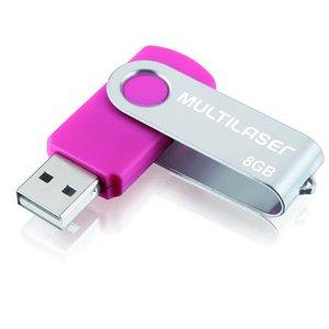 Pen Drive 8Gb USB Twist 2 Rosa Multilaser - PD687