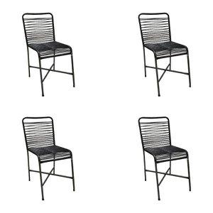 Kit 4 Cadeiras para Varanda Preta Copa