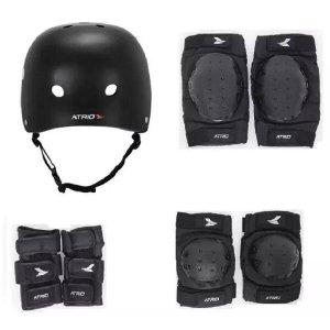 Kit De Proteção Atrio Completo Com Capacete Patins Skate