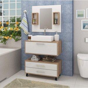 Gabinete para Banheiro com Cuba, Espelheira e Gaveteiro Espresso Móveis
