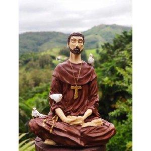 Imagem Estátua São Francisco Assis Meditando Em Resina 19 Cm - Marrom