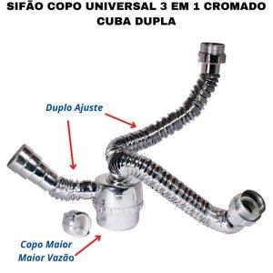 Sifão Sanfonado Duplo Ajuste Com Copo Flexível Universal Cromado Para Cuba Dupla Banheiro,