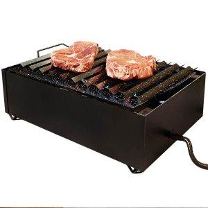 Char Broiler a Gás 8 Caulins Fogareiro Grelha Chapa Hambúrguer Grill Aço Carbono