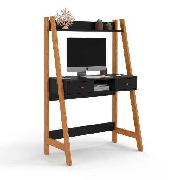 Escrivaninha e Estante com gavetas Office Desk - Nature/Preto - Mania de Móveis