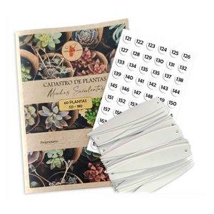 Plaquetas e Caderno Numerado 121 a 180 Registro Controle Suculentas
