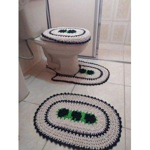 Tapete De Crochê Para Banheiro Flor Criativa:Marrom