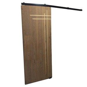 Kit Porta de Correr 4 Roldanas - Trilho 1,60 M - Porta até 82cm - Preto