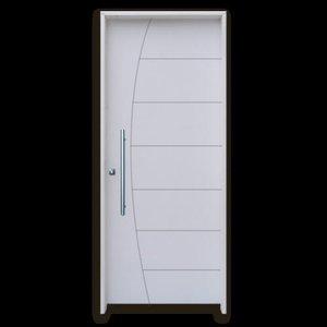 Kit Porta De Madeira Belíssima HDF Primer Com Puxador Reto 2,10 X 0,92 Esquerda Linha Uni