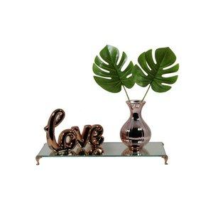 Letreiro Palavra Love Rose + Bandeja + Vaso com Planta