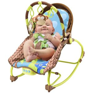 Cadeira de Balanço para Bebês com Música e Vibratória De 0 a 20kg - Multikids Baby - Macaco