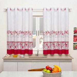 Cortina de Cozinha Sublime 2,40m x 1,40m Para Varão Simples - Pássaros Vermelhos