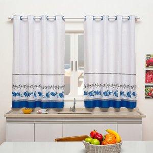 Cortina de Cozinha Sublime 2,40m x 1,40m Para Varão Simples - Floral Azul