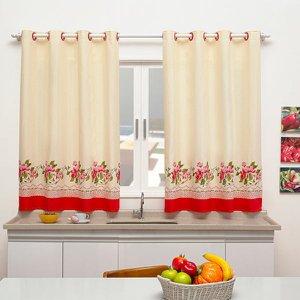 Cortina de Cozinha Sublime 2,40m x 1,40m Para Varão Simples - Floral Vermelho