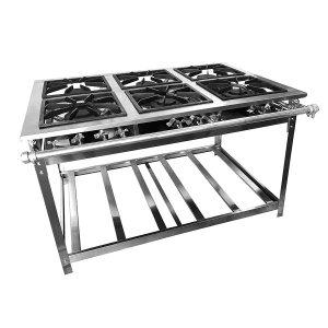 Fogão Industrial Inox Baixa Pressão 6 Bocas (3Dup 3Simp) - Premium (Perf 8) Grelha 38x38 - Brascool