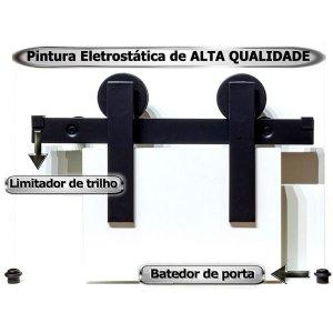 Kit Porta de Correr Celeiro Rustico Preto com Trilho de 2 Metros - Pintura Preto fosco Texturizado d