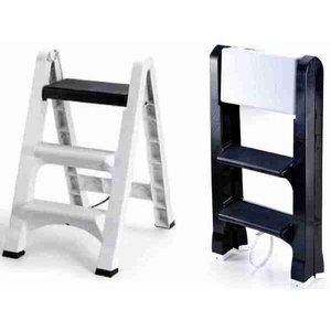 Banqueta Escada Dobrável De Plástico 3 Degraus - Preto
