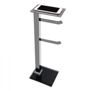 Papeleira de Chão Inox com Suporte Celular Premium PR4077 Ducon Metais