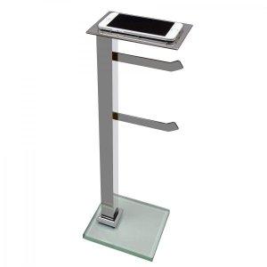 Papeleira de Chão Inox com Suporte para Celular Premium PR4078 Ducon Metais